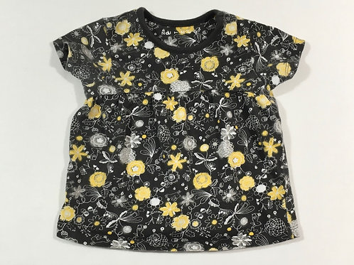 Nutmeg 6-9 months Black, Yellow and White Floral T-shirt