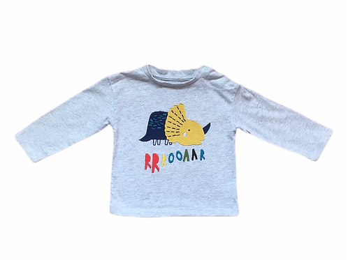 Boots Mini Club 9-12 months Grey Long Sleeve Dinosaur Top