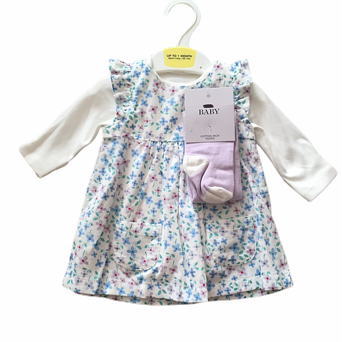 Ex High Street 6-9 months Floral Cord Dress, Tights and Bodysuit Set - BRAND NEW