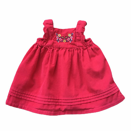 Nutmeg 0-3 months Red Cord Pinafore Dress