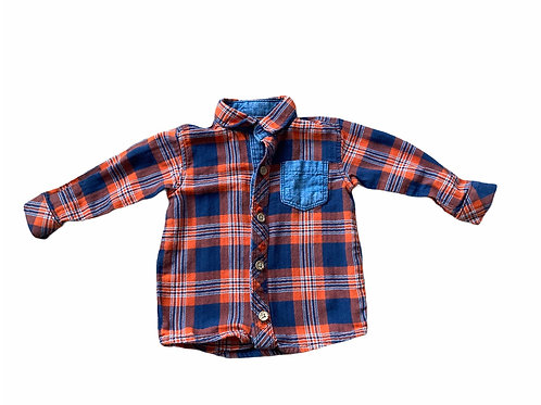 George 3-6 months Orange and Navy Checked Shirt