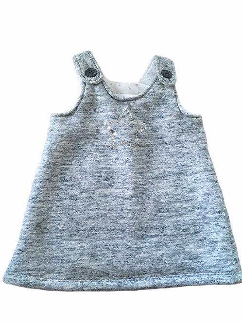 Next 3-6 months Grey Sequin Star Winter Dress (Fluffy Lining)