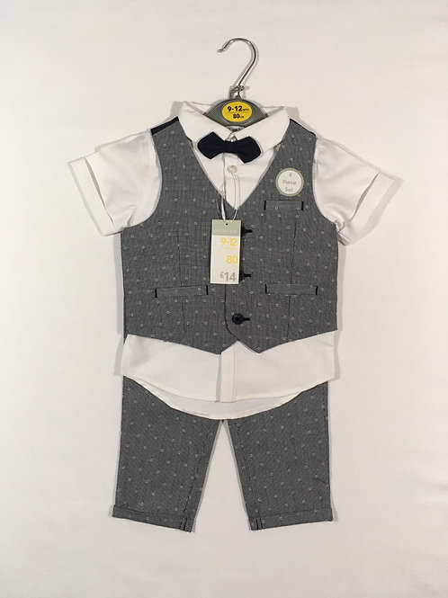 Primark 9-12 months 4 Piece Suit- Waistcoat, Shirt, Trousers & Bow Tie-BRAND NEW