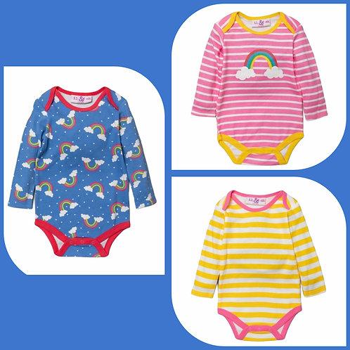 Lily & Jack 6-12 months 3 x Long Sleeve Rainbow Bodysuits - BRAND NEW