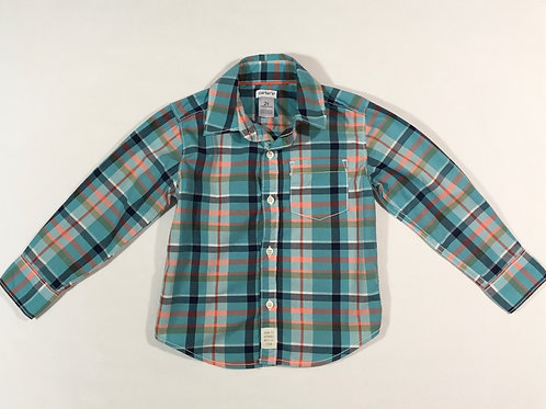 Carters 2 years Blue and Orange Long Sleeve Check Shirt