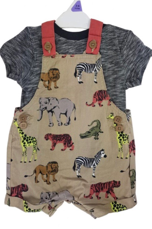 Nutmeg 0-3 months Animal Short Leg Dungarees with T-shirt - BRAND NEW
