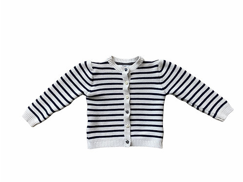 M&S 4-5 years Navy and White Striped Cardigan