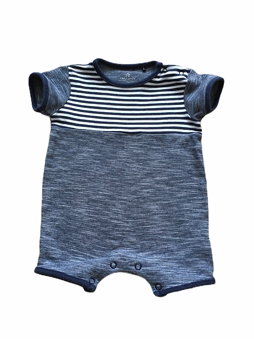 Next 3-6 months Navy and White Striped Romper