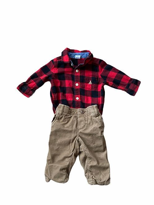 GAP 3-6 months Checked Long Sleeve Bodysuit and Brown Cord Trousers