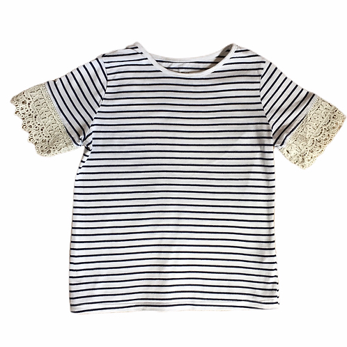 F&F 9-10 years Navy and White Striped Top with Lace Detail