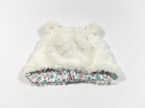 TU 3-6 months Cream Teddy Bear Winter Hat