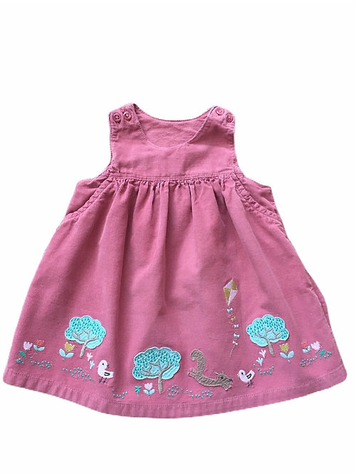 M&S 3-6 months Pink Cord Pinafore Dress