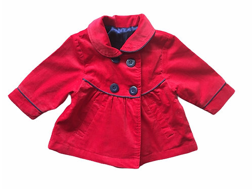 Mothercare 0-3 months Red Velvet Coat with Back Bow Detail