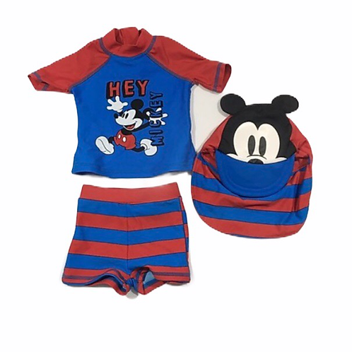 Disney Baby 6-9 months Mickey Mouse Swimming Top, Shorts and Hat