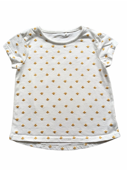George 3-4 years White T-Shirt with Gold Glitter Bees
