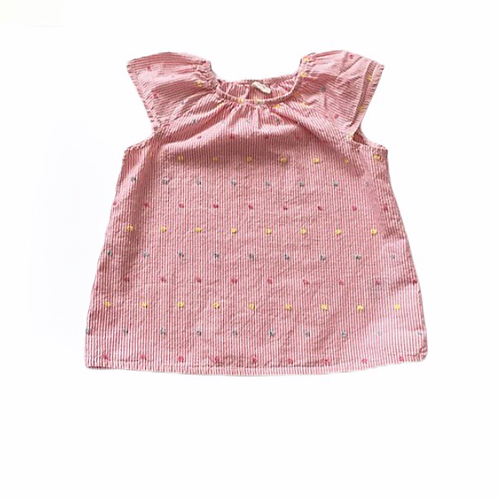 H&M 1.5-2 years Pink and White Striped Top with Polka Dots