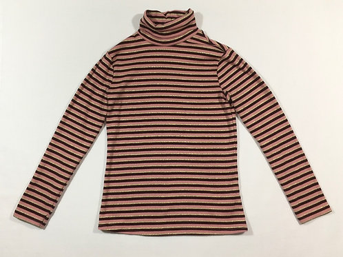 George 7-8 years Pink, Burgundy and Gold Striped Long Sleeve Roll Neck Top
