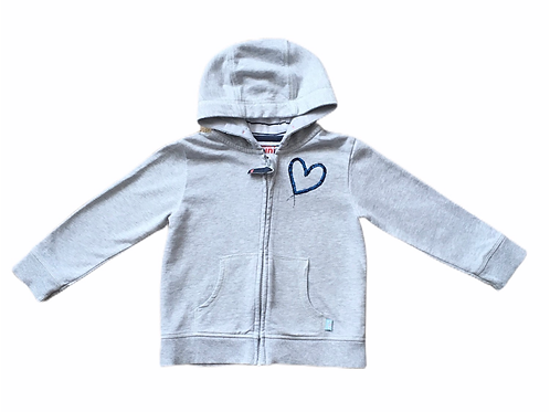 Waitrose 18-24 months Grey Zip Up Hoodie with Blue Sequin Heart Detail
