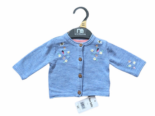 Mothercare 1-3 months Blue Embroidered Cardigan - BRAND NEW