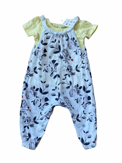 Nutmeg 3-6 months Dungarees and T-Shirt Set - BRAND NEW