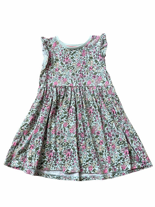 F&F 4-5 years Green and Pink Floral Dress