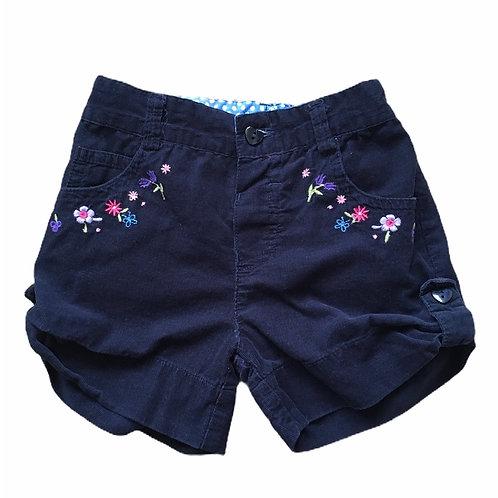 Jasper Conran 12-18 months Navy Cord Floral Shorts