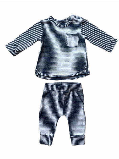 George 0-3 months Navy and White Striped Long Sleeve Top and Trouser Set