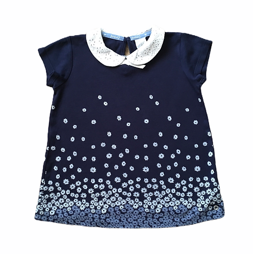 Jasper Conran 3-4 years Navy Short Sleeve Daisy Top with Lace Collar