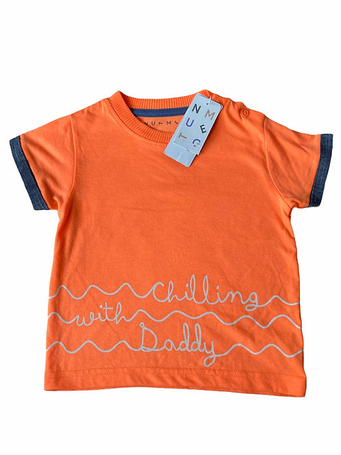 Nutmeg 12-18 months Orange 'Chilling with Daddy' T-Shirt - BRAND NEW