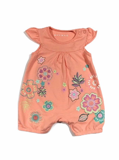Nutmeg Up to 1 month Orange Floral Short Leg Romper