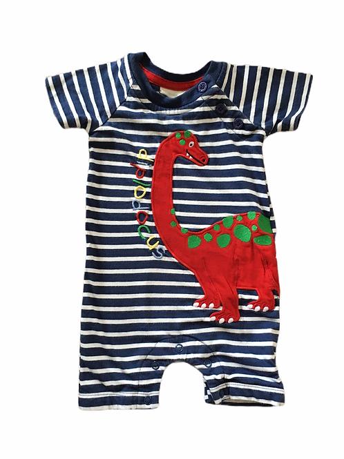 JoJo Maman Bebe 0-3 months Navy and White Striped Short Leg Dinosaur Romper