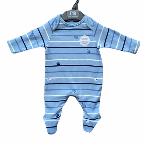 Mothercare 1-3 months Blue Car Sleepsuit - BRAND NEW