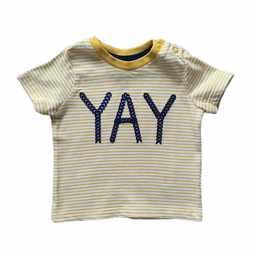 F&F Up to 3 months Mustard and White Striped 'Yay' T-shirt