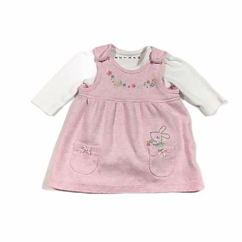 Nutmeg Newborn Pink Dress with Polka Dot Long Sleeve Bodysuit