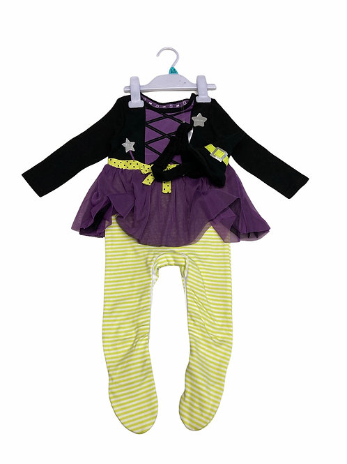Ex Chain Store 9-12 months Halloween Costume with Witch Hat Headband - BRAND NEW