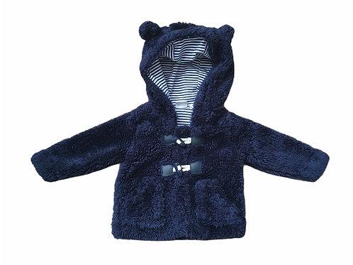 Bluezoo 0-3 months Navy Teddy Bear Hooded Coat