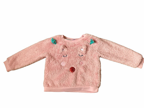 Boots Mini Club 1.5-2 years Baby Pink Fluffy Reindeer Christmas Jumper