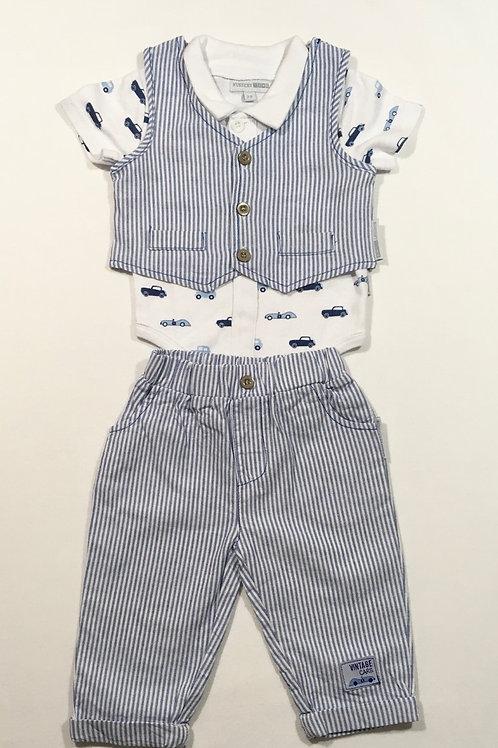 Nursery Time 3-6 months 3 Piece Set– Waistcoat, Trousers & Short Sleeve Bodysuit