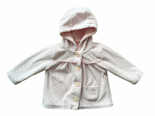 Dunnes 3-6 months Pink Polka Dot Fleece Polka Dot Hooded Coat