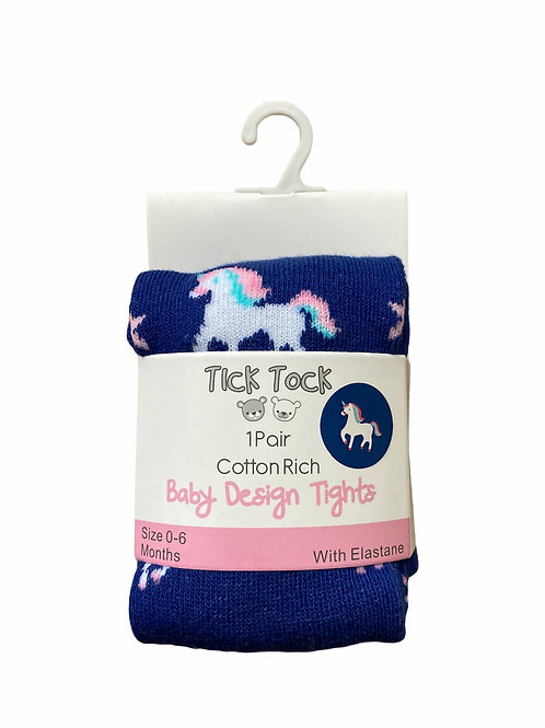 0-6 months Navy Unicorn Tights - BRAND NEW