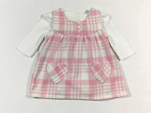 George 0-3 months Pink Check Fleece Dress with Long Sleeve White Bodysuit