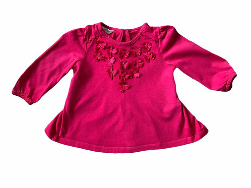 Monsoon 3-6 months Long Sleeve Floral Detail Top
