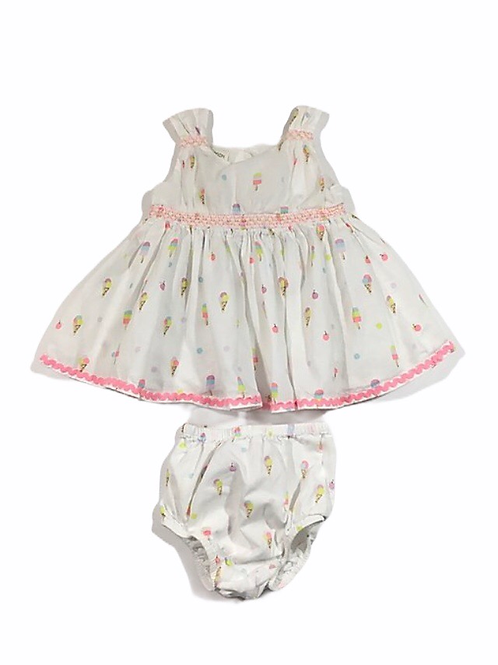 Monsoon 0-3 months White Ice Cream Dress with Nappy Cover