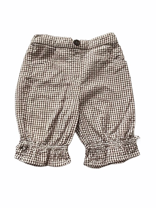 Mini Mode 3-6 months Brown and White Check Cotton Trousers