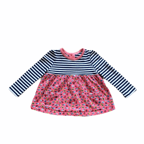 TU 0-3 months Long Sleeve Floral and Striped Dress