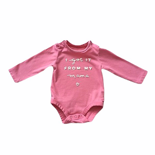 TU 3-6 months Pink Long Sleeve Bodysuit 'I Got It From My Mama'