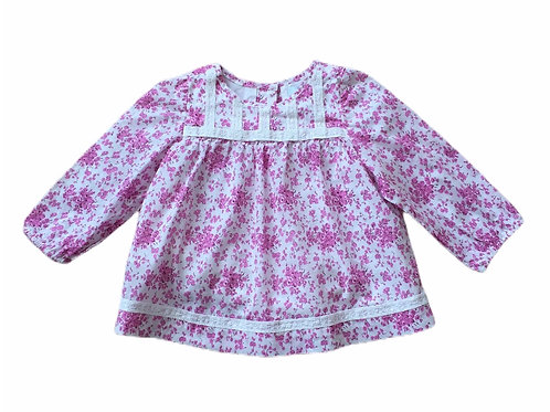 Baby Boden 6-12 months Pink and White Floral Long Sleeve Top