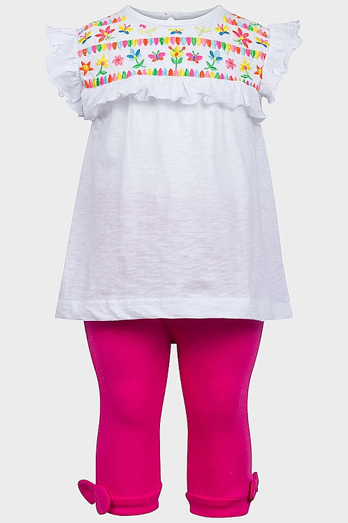 Minoti 9-12 months White Embroidered Top and Pink Leggings – BRAND NEW