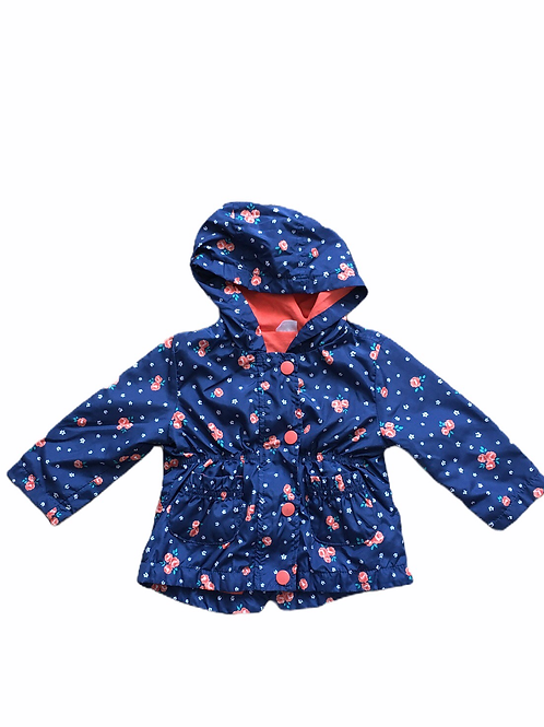 F&F 6-9 months Navy Floral Lightweight Coat (Slight tarnish on 2 poppers)