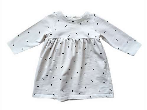 M&S 6-9 months Cream and Black Long Sleeve Dress